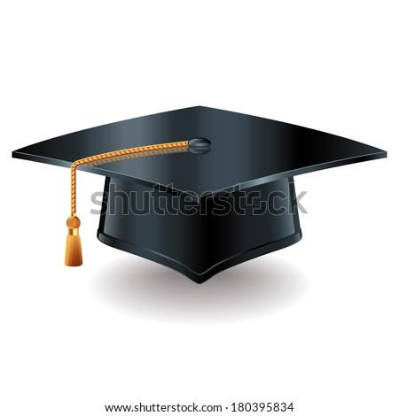 Graduation cap isolated on white photo-realistic vector illustration - stock vector