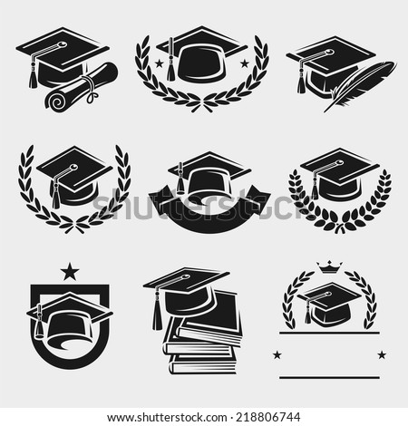 Graduation cap labels set. Vector - stock vector