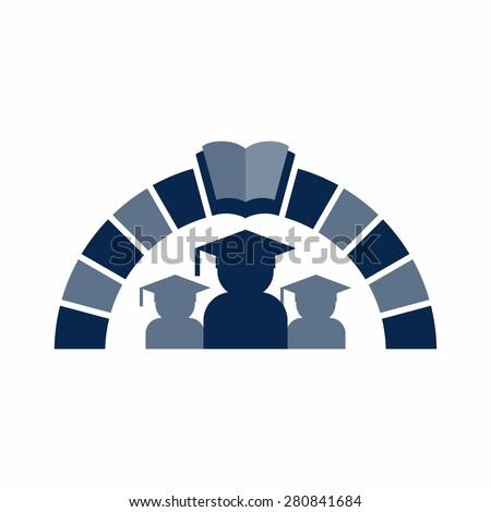 Graduation cap logo. education icon template vector. keystone logo. - stock vector