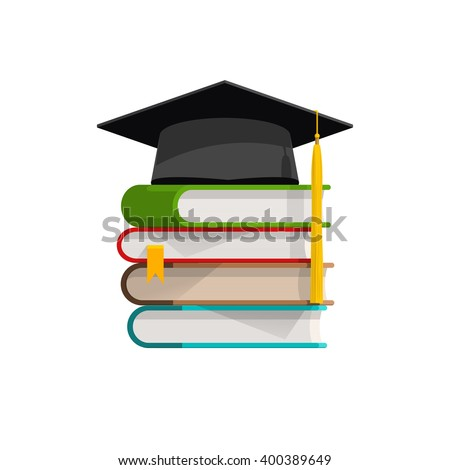Graduation Cap On Books Stacked Mortar Stock Vector 2018 400389649