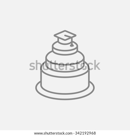 Graduation cap on the top of a cake line icon for web, mobile and infographics. Vector dark grey icon isolated on light grey background. - stock vector
