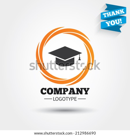 Graduation cap sign icon. Higher education symbol. Business abstract circle logo. Logotype with Thank you ribbon. Vector - stock vector