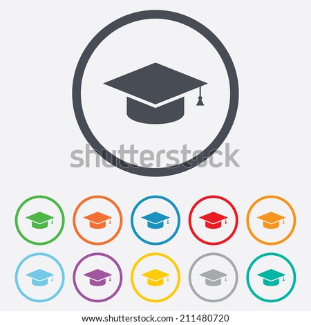 Graduation cap sign icon. Higher education symbol. Round circle buttons with frame. Vector - stock vector