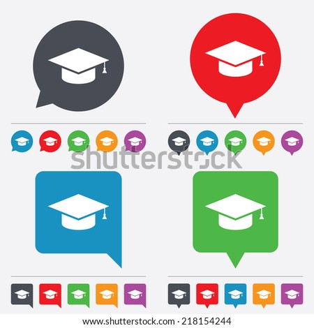Graduation cap sign icon. Higher education symbol. Speech bubbles information icons. 24 colored buttons. Vector - stock vector
