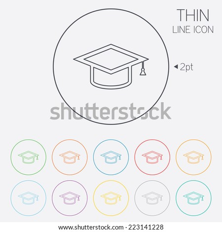 Graduation cap sign icon. Higher education symbol. Thin line circle web icons with outline. Vector - stock vector