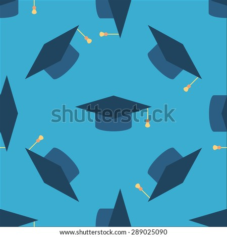 Graduation cap sign icon seamless background. Higher education symbol pattern. Blue texture backdrop with tossing hats. Vector illustration - stock vector