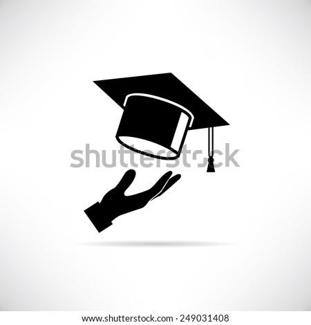 graduation cap thrown in the air - stock vector