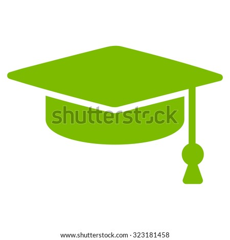 Graduation Cap vector icon. Style is flat symbol, eco green color, rounded angles, white background.