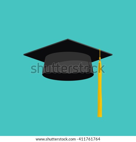 Graduation cap vector isolated on blue background, graduation hat with tassel flat icon, academic cap, graduation cap image, graduation cap illustration - stock vector