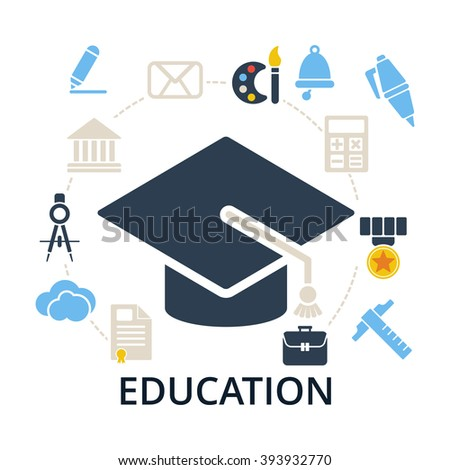 Graduation cap with education icons. Academic hat and icons for education training and tutorials. Education flat vector illustration on white. - stock vector