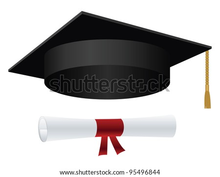 Graduation cap with golden tassel and diploma - stock vector