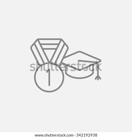 Graduation cap with medal line icon for web, mobile and infographics. Vector dark grey icon isolated on light grey background. - stock vector