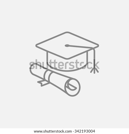 Graduation cap with paper scroll line icon for web, mobile and infographics. Vector dark grey icon isolated on light grey background. - stock vector