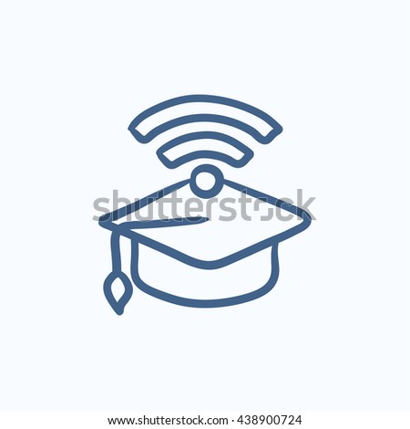 Graduation cap with wi-fi sign vector sketch icon isolated on background. Hand drawn Graduation cap with wi-fi sign icon. Graduation cap with wi-fi sign sketch icon for infographic, website or app. - stock vector