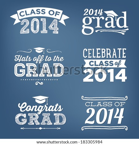 Graduation Class of 2014 Congratulations Vectors Hats off to the Grad - stock vector
