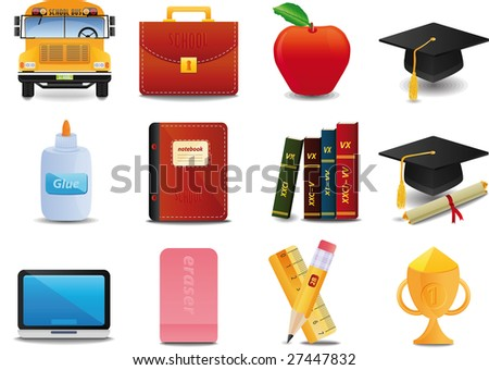 Graduation, College and Education icons - stock vector