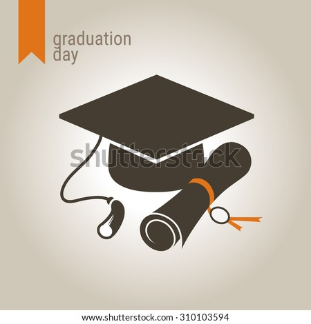 Graduation day icon. Mortarboard and diploma. - stock vector