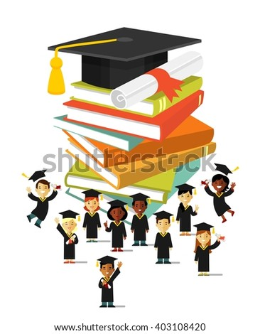 Graduation education concept  in flat style. Happy young graduate students people near big graduate cap, certificate and books