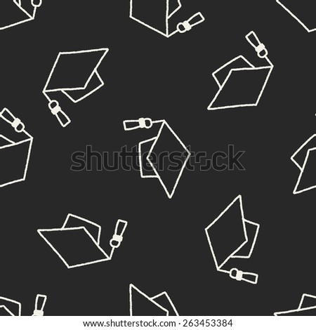 graduation hat doodle drawing seamless pattern background - stock vector