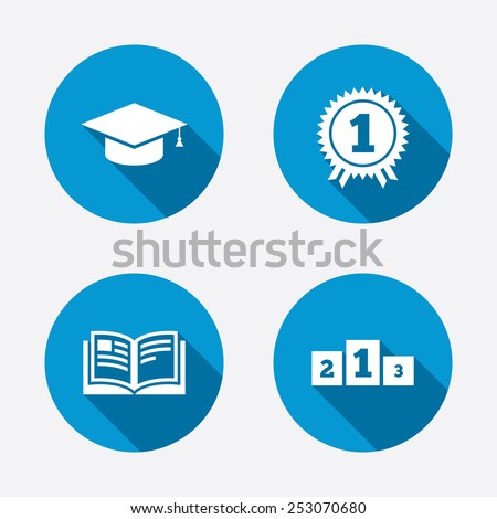 Graduation icons. Graduation student cap sign. Education book symbol. First place award. Winners podium. Circle concept web buttons. Vector - stock vector