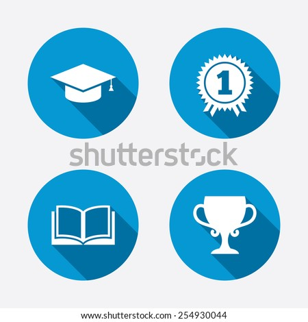 Graduation icons. Graduation student cap sign. Education book symbol. First place award. Winners cup. Circle concept web buttons. Vector - stock vector
