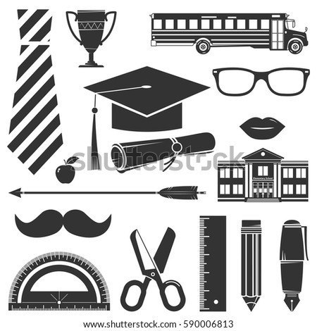 pencil mustache stock images royalty images vectors  graduation icons set isolated on white vector illustration for logo design patches