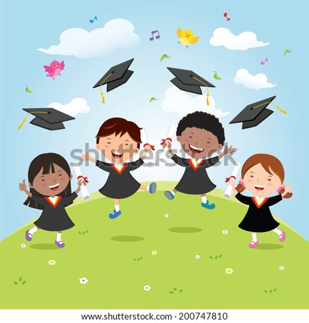 Graduation kids celebration with joy. Diversity school kids jumping for joy and tossing their graduation caps in the air. - stock vector