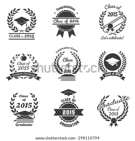 Graduation labels. High School and congratulations graduate logo set. College study, diploma and hat design. Vector illustration - stock vector