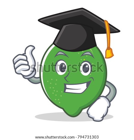 Graduation lime character cartoon style