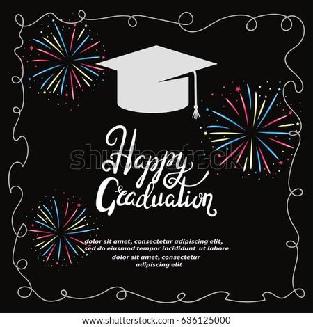 Graduation party invitation card vector template stock vector hd graduation party invitation card vector template with colorful fireworks stopboris Gallery