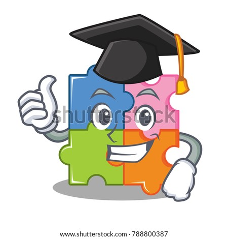 Graduation puzzle character cartoon style