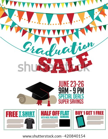 Graduation sale bunting, mortarboard and diploma background with coupons. EPS 10 vector. - stock vector