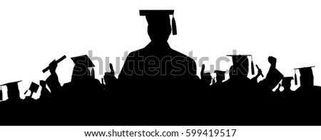 Graduation student silhouettes