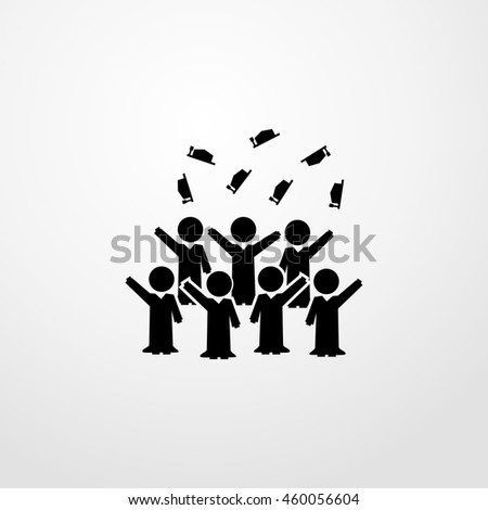 Graduation students group cheering icon.  flat design