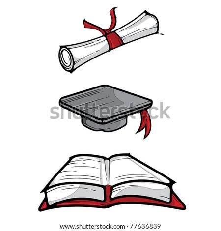 Graduation vector cartoon - stock vector