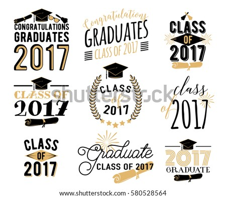 Graduation Wishes Monochrome Overlays Lettering Labels ...