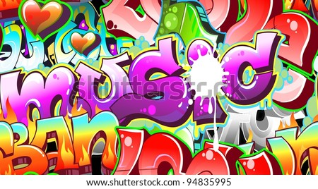 Graffiti Background Urban Art. Seamless texture - stock vector