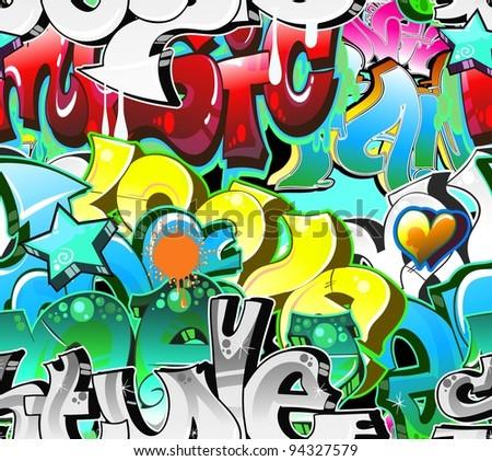 Graffiti Background Urban Art. Street wall - stock vector