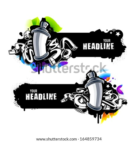 Graffiti banners with abstract arrows and paint cans. Vector illustration. - stock vector