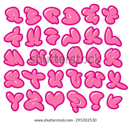 graffiti bubble gum pink vector fonts with gloss over white