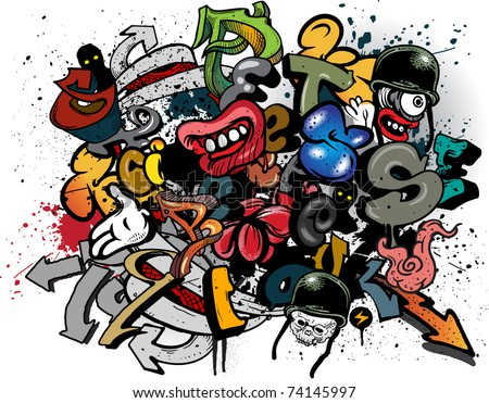 Graffiti elements on white background - stock vector