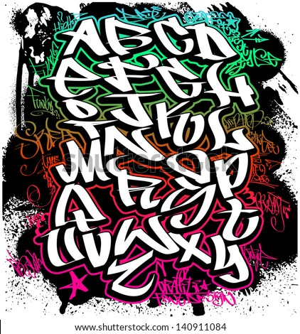 Graffiti font alphabet. Hip hop letters - stock vector