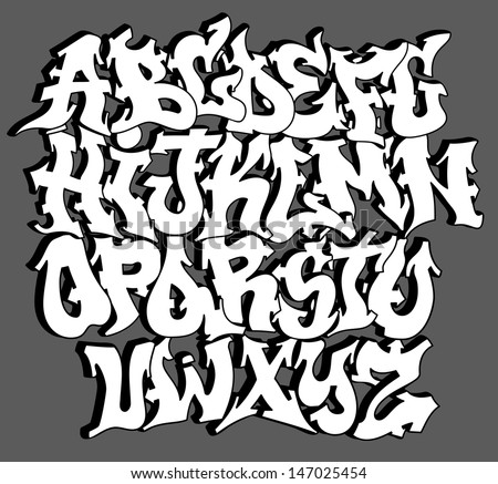 Graffiti font alphabet letters. Hip hop type grafitti design - stock vector