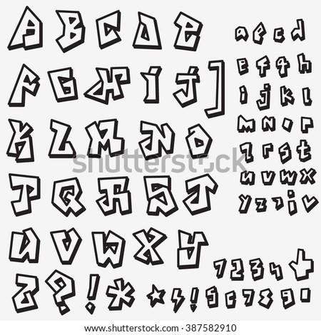 graffiti font , alphabet - vector symbols - stock vector