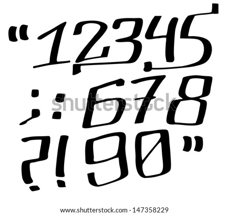 Graffiti Font Numbers Stock Vector 147358229