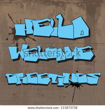 graffiti greetings text - stock vector