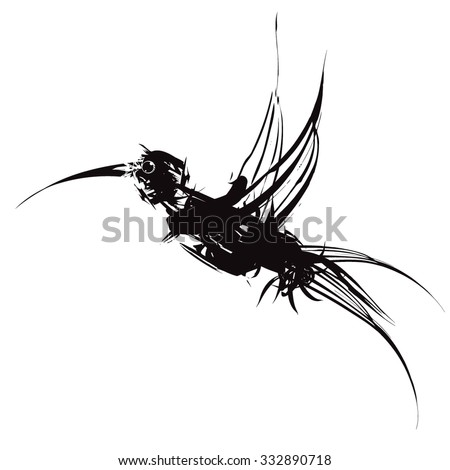 Graffiti hummingbird - stock vector