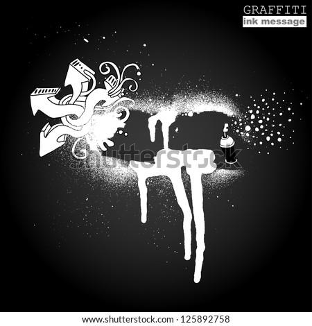 Graffiti ink frame. Artistic grunge banner design, funky vector element for hip hop background. Urban art. - stock vector