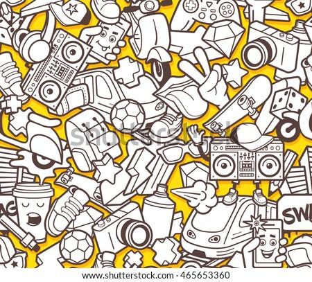 Graffiti Seamless Pattern Urban Lifestyle Line Stock Vector ...