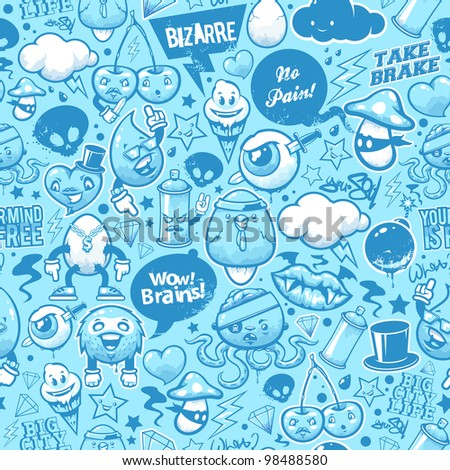 Graffiti seamless texture with bizarre elements and characters. - stock vector